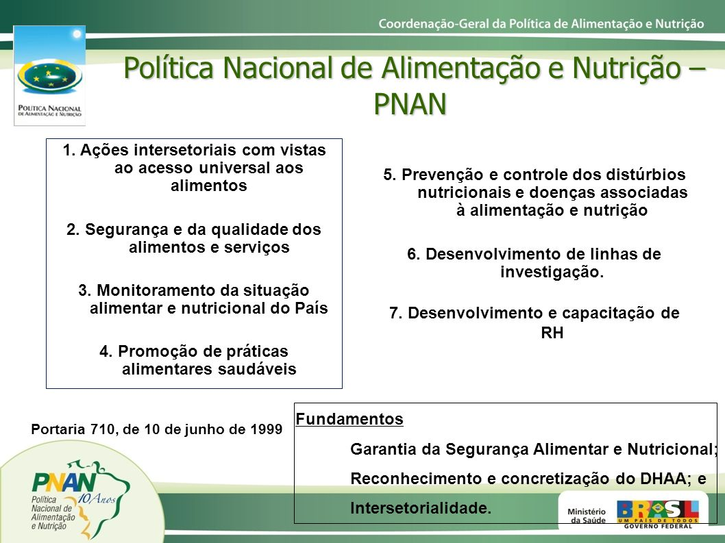 Política Nacional de Alimentação e Nutrição – PNAN