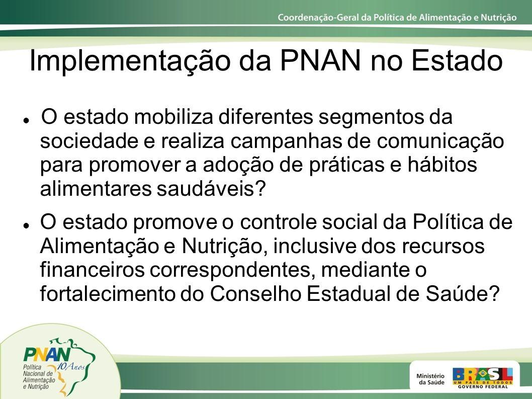 Implementação da PNAN no Estado