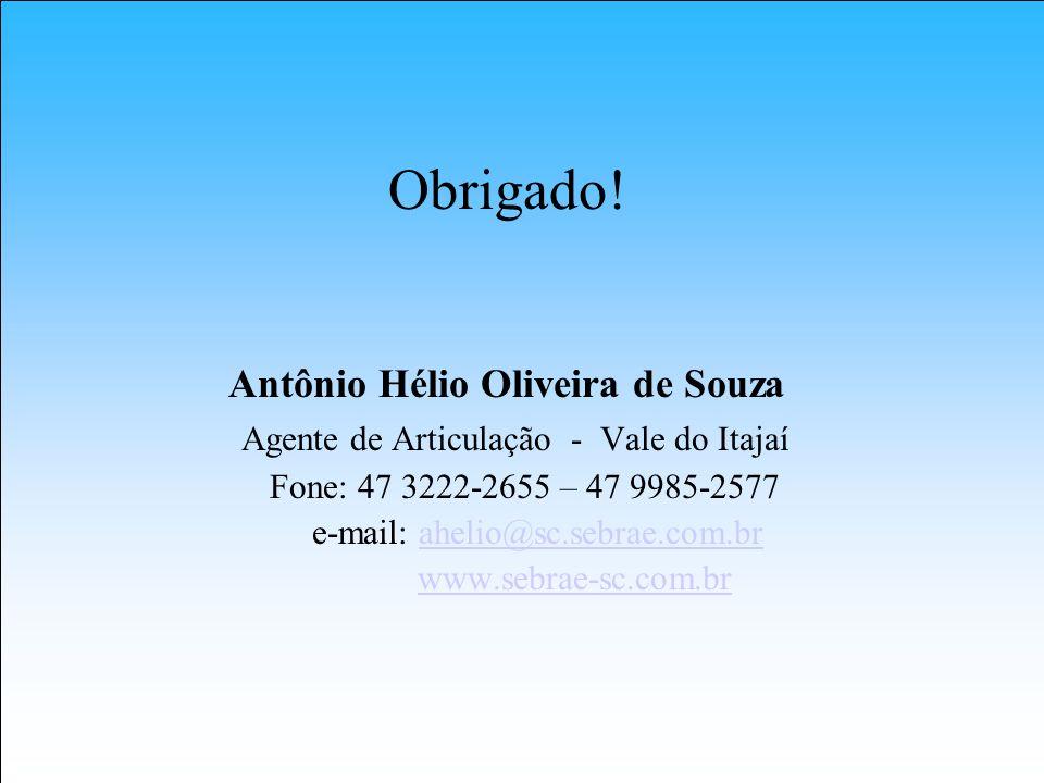 Obrigado! Antônio Hélio Oliveira de Souza