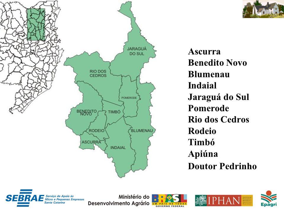 Ascurra Benedito Novo Blumenau Indaial Jaraguá do Sul Pomerode Rio dos Cedros Rodeio Timbó Apiúna Doutor Pedrinho