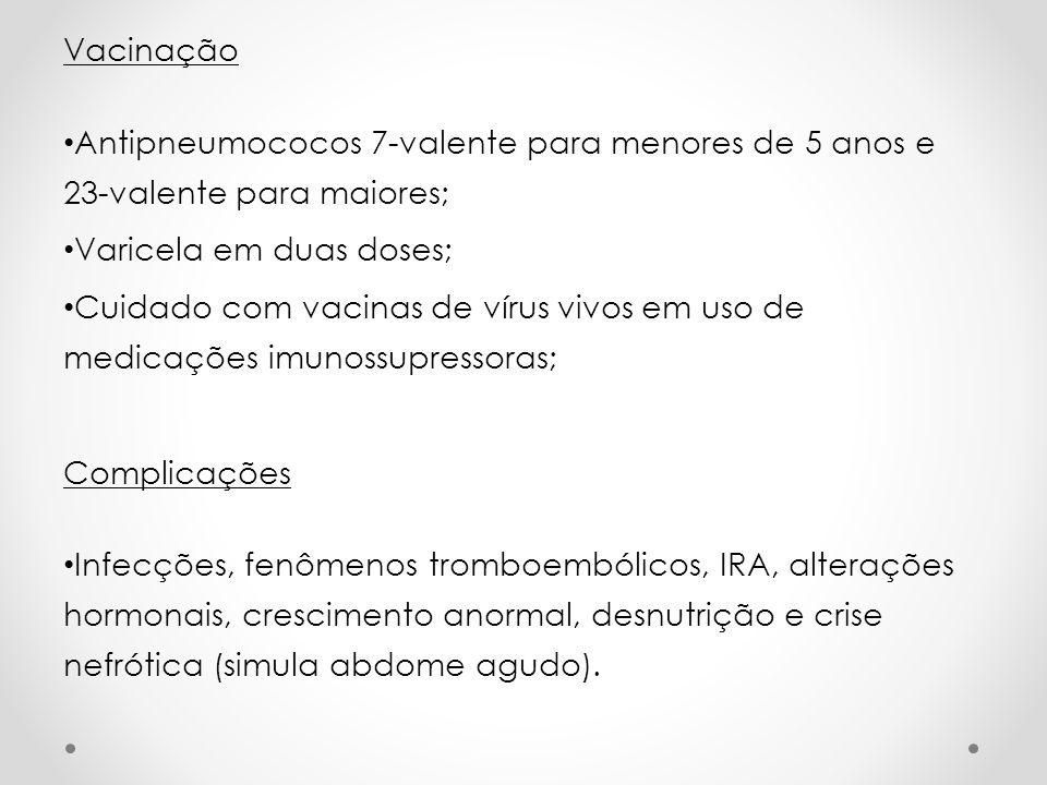 VacinaçãoAntipneumococos 7-valente para menores de 5 anos e 23-valente para maiores; Varicela em duas doses;