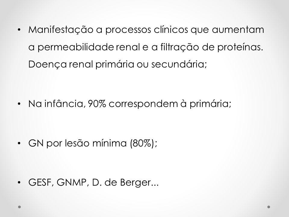 Manifestação a processos clínicos que aumentam a permeabilidade renal e a filtração de proteínas. Doença renal primária ou secundária;