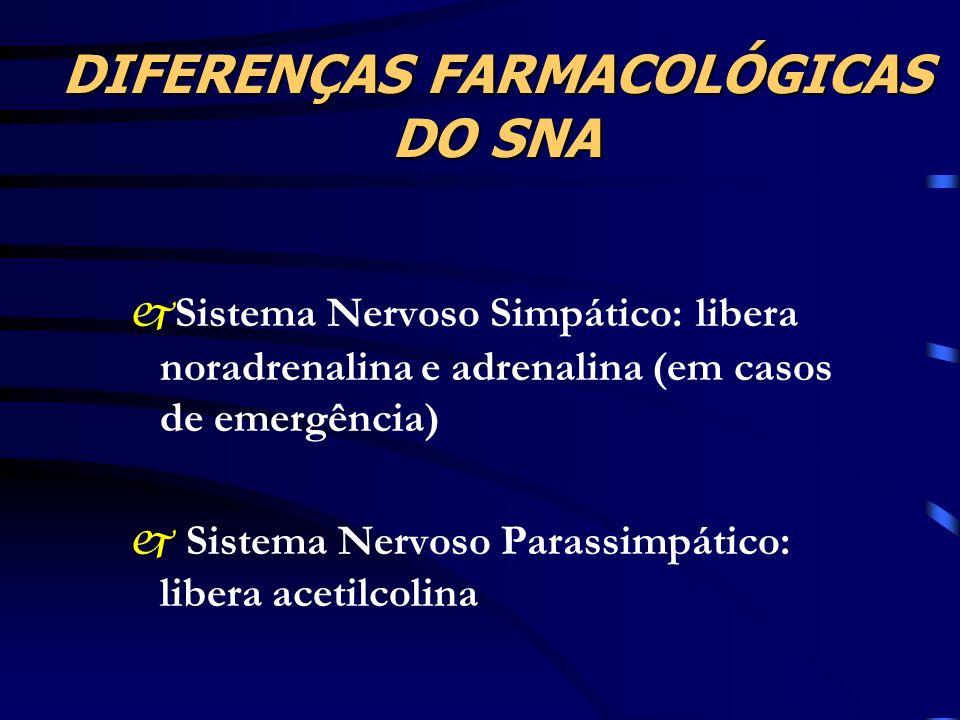 DIFERENÇAS FARMACOLÓGICAS DO SNA