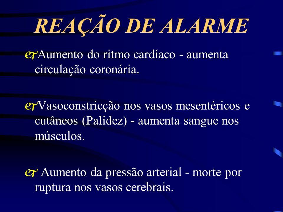 REAÇÃO DE ALARME Aumento do ritmo cardíaco - aumenta circulação coronária.