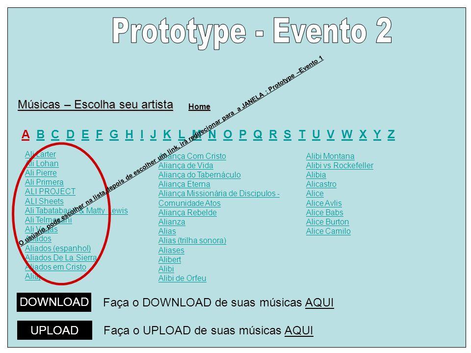 Prototype - Evento 2 Músicas – Escolha seu artista