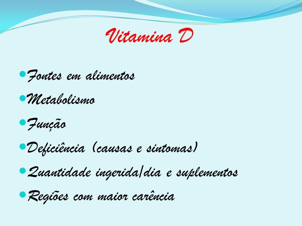 Vitamina D Fontes em alimentos Metabolismo Função