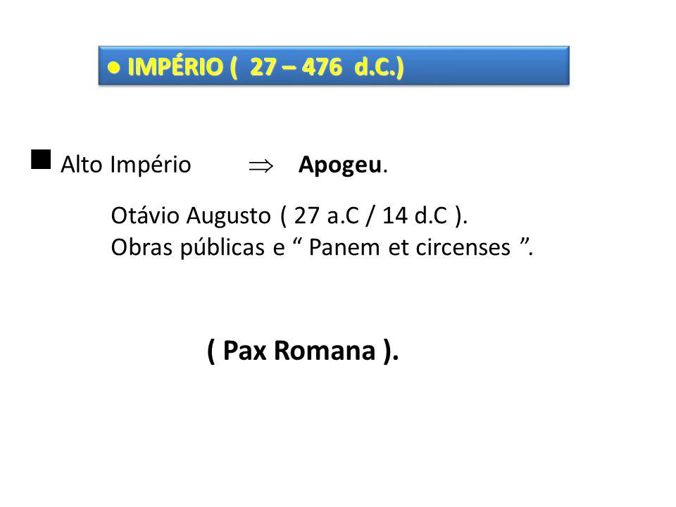 ( Pax Romana ). ● IMPÉRIO ( 27 – 476 d.C.)  Alto Império  Apogeu.