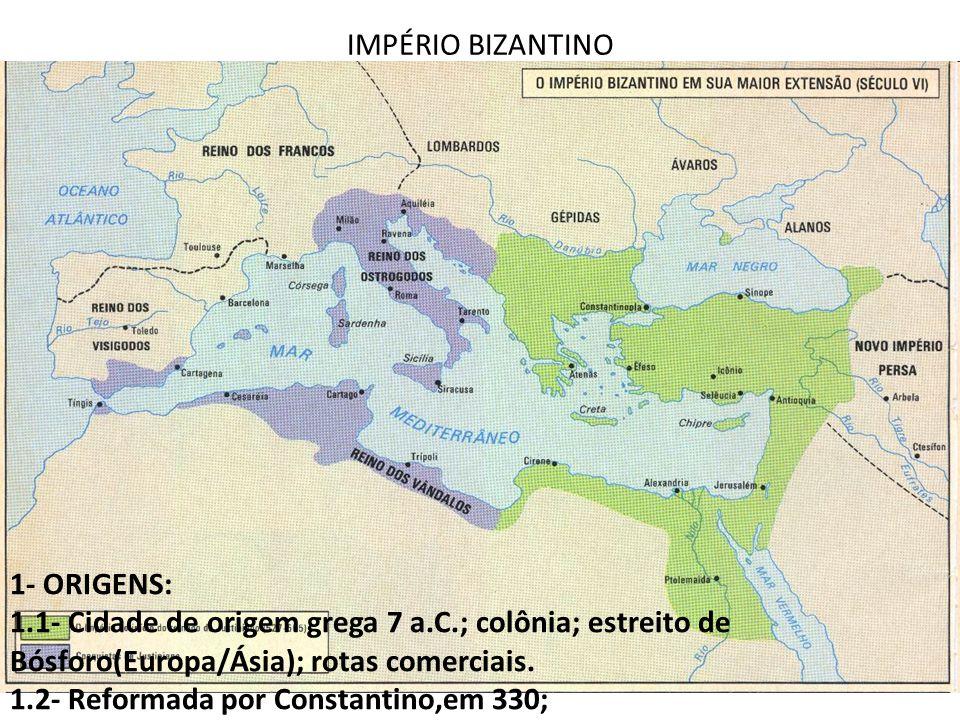 IMPÉRIO BIZANTINO 1- ORIGENS: 1.1- Cidade de origem grega 7 a.C.; colônia; estreito de Bósforo(Europa/Ásia); rotas comerciais.