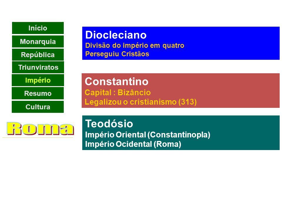 Roma Diocleciano Constantino Teodósio Império Reformadores