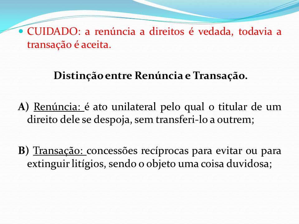 Distinção entre Renúncia e Transação.
