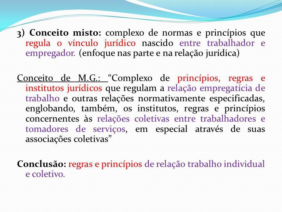 3) Conceito misto: complexo de normas e princípios que regula o vínculo jurídico nascido entre trabalhador e empregador.