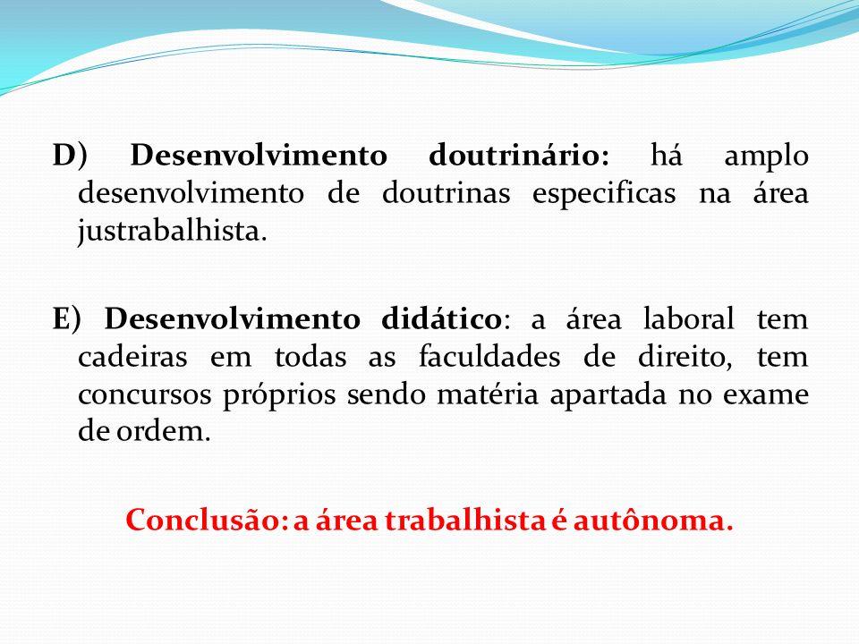 D) Desenvolvimento doutrinário: há amplo desenvolvimento de doutrinas especificas na área justrabalhista.