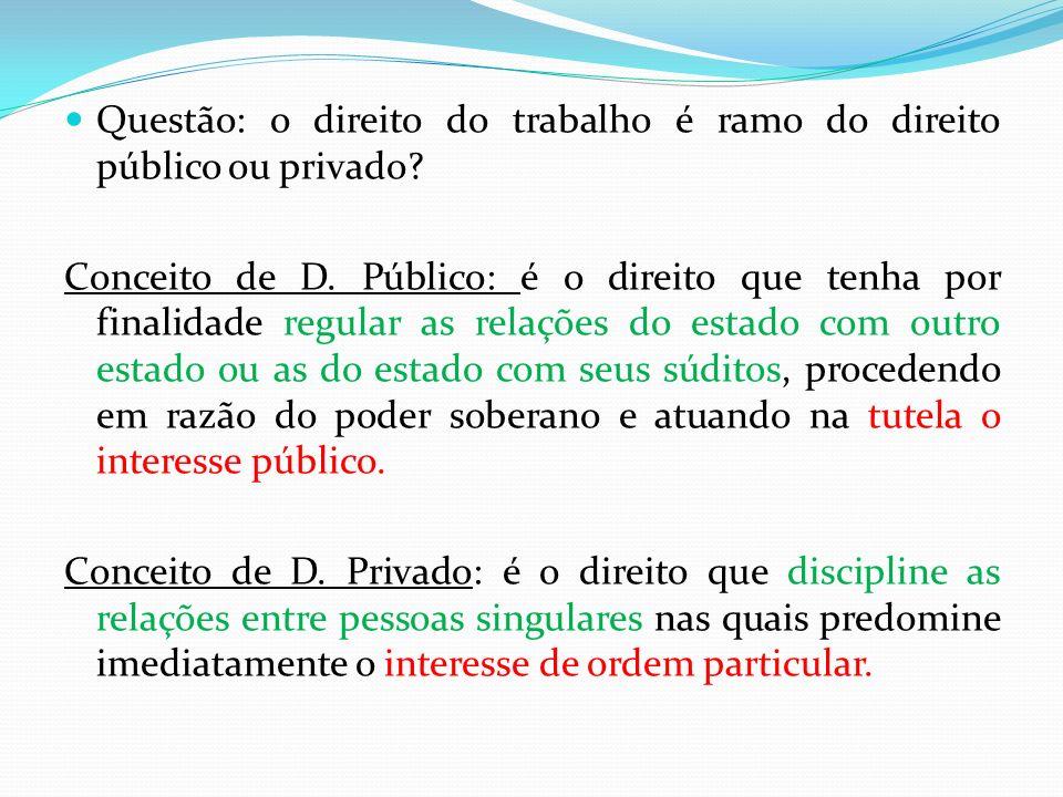 Questão: o direito do trabalho é ramo do direito público ou privado