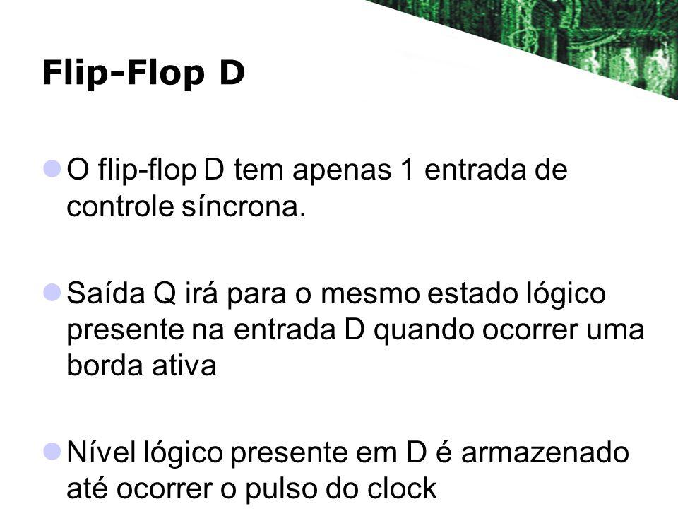 Flip-Flop D O flip-flop D tem apenas 1 entrada de controle síncrona.