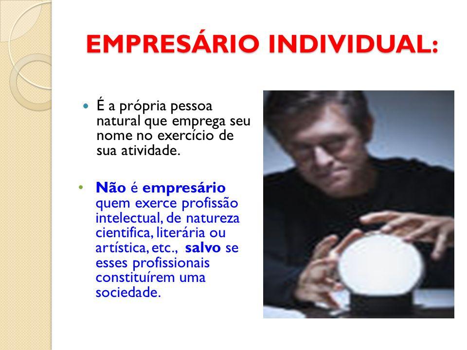 EMPRESÁRIO INDIVIDUAL: