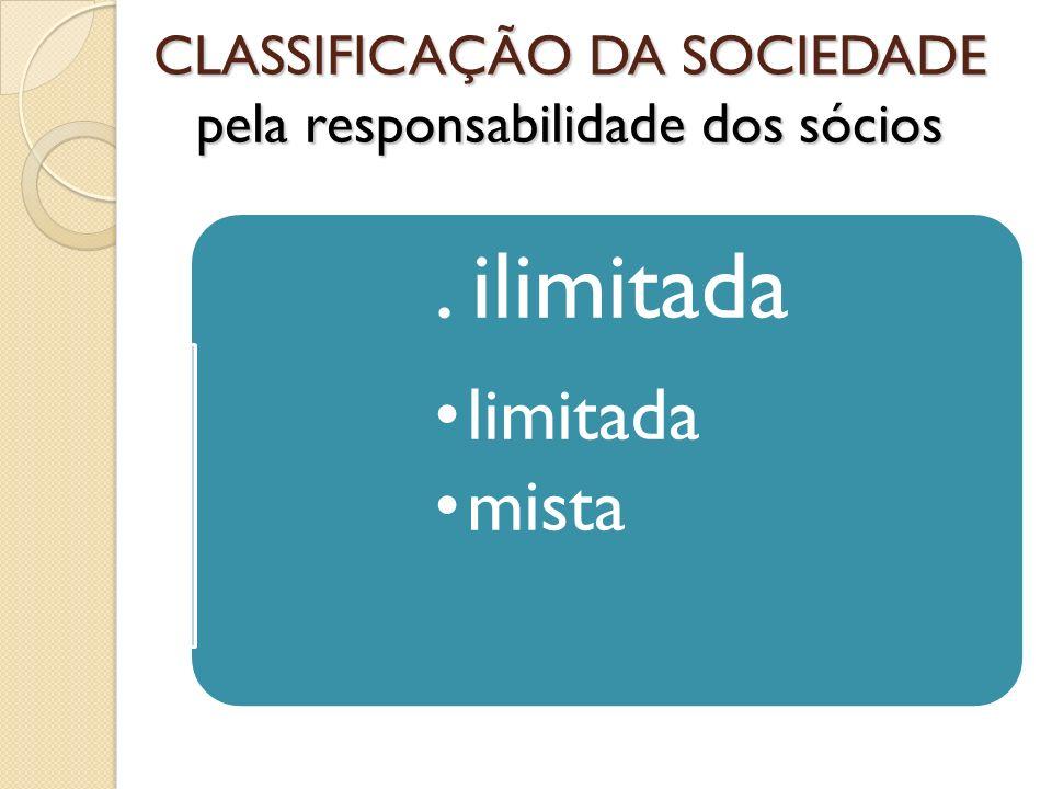 CLASSIFICAÇÃO DA SOCIEDADE pela responsabilidade dos sócios