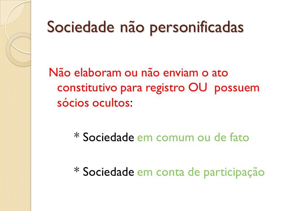 Sociedade não personificadas