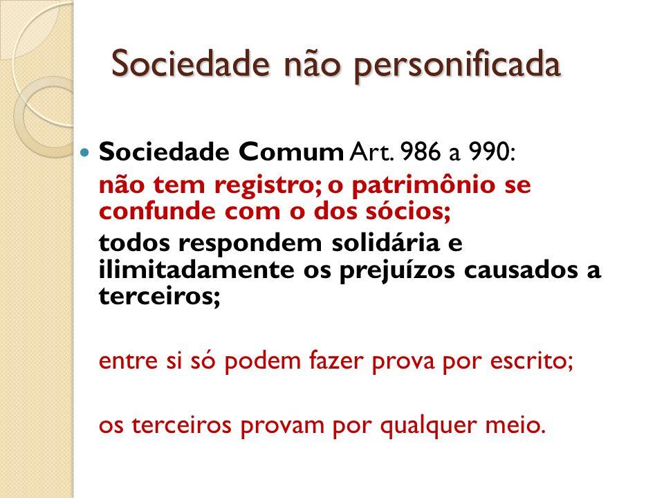 Sociedade não personificada