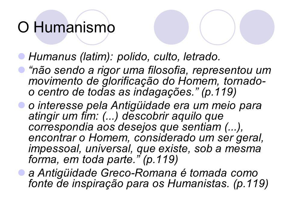 O Humanismo Humanus (latim): polido, culto, letrado.