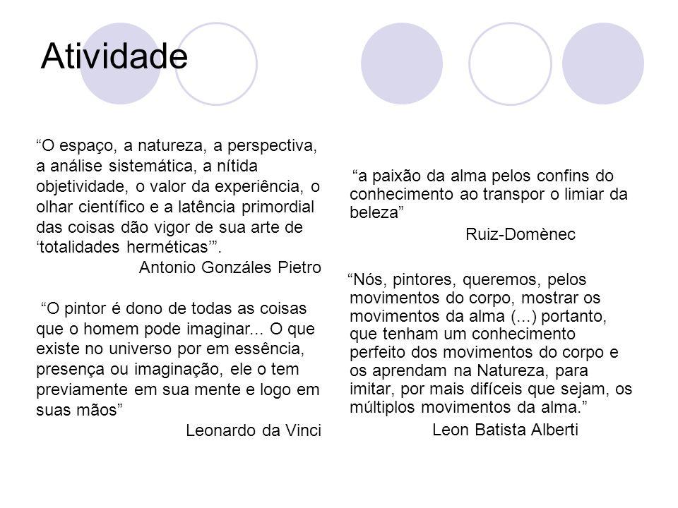 Atividade a paixão da alma pelos confins do conhecimento ao transpor o limiar da beleza Ruiz-Domènec.