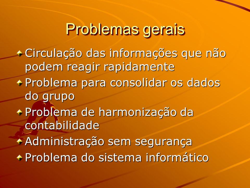 Problemas gerais Circulação das informações que não podem reagir rapidamente. Problema para consolidar os dados do grupo.