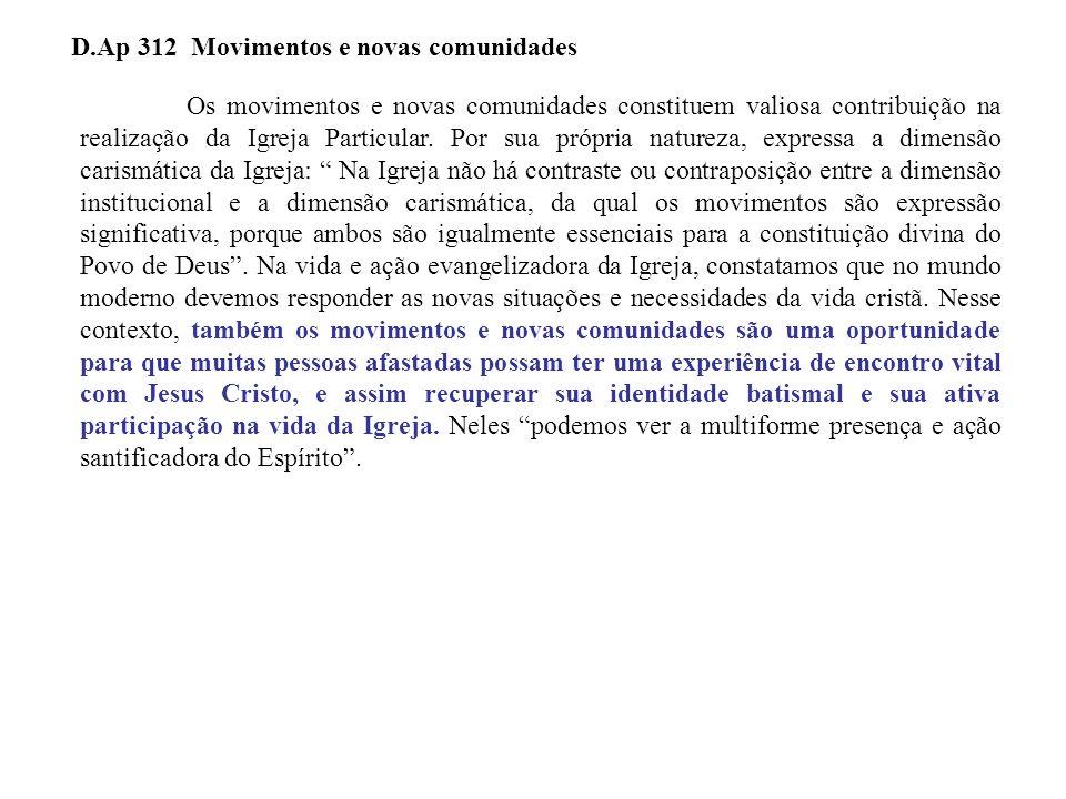 D.Ap 312 Movimentos e novas comunidades