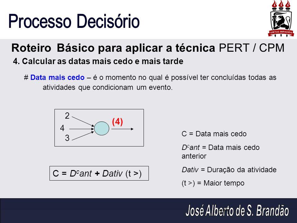 Roteiro Básico para aplicar a técnica PERT / CPM