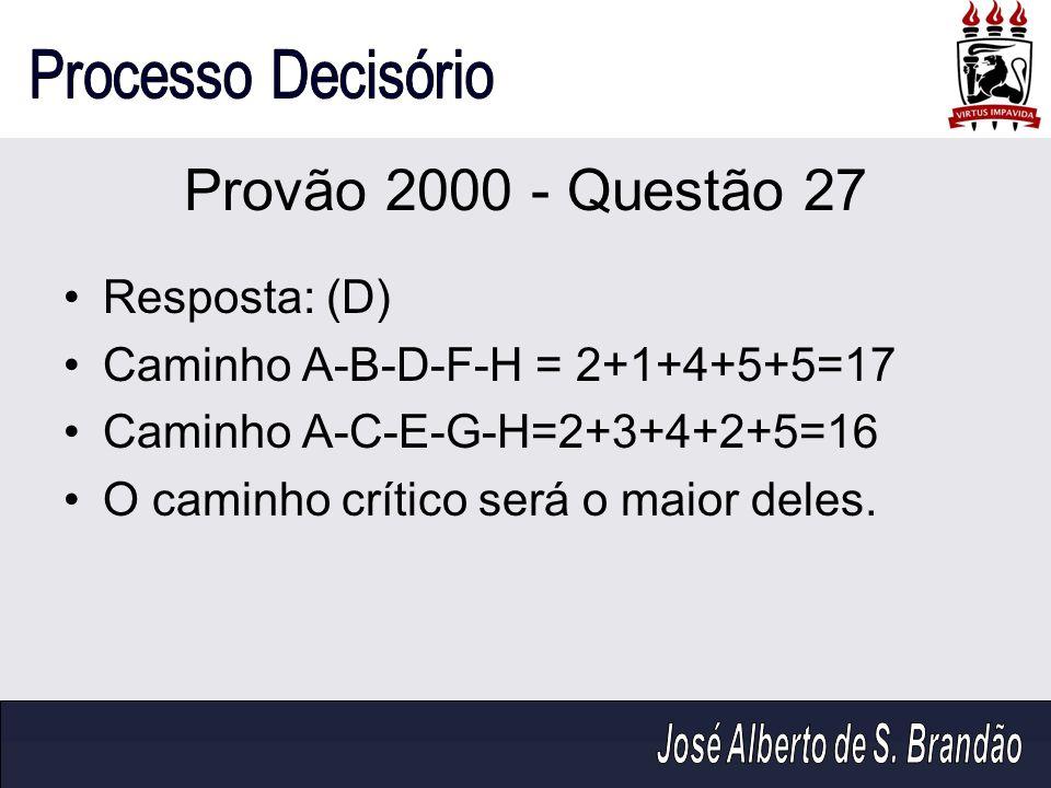 Provão 2000 - Questão 27 Resposta: (D)