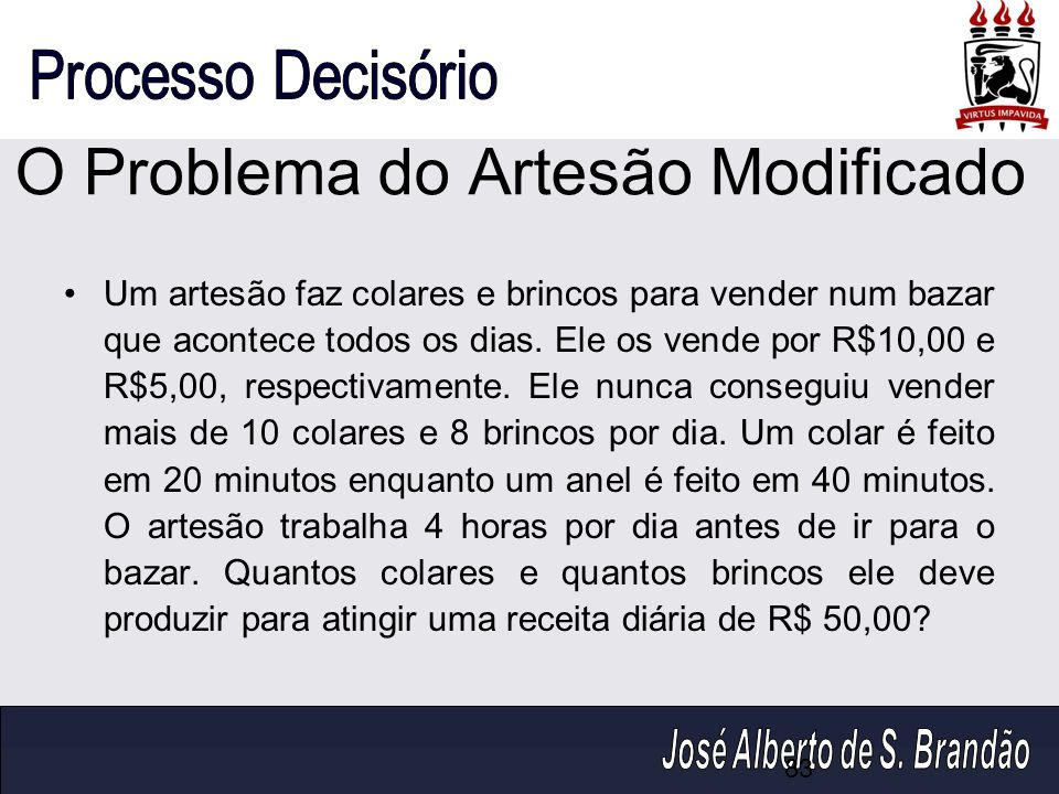 O Problema do Artesão Modificado