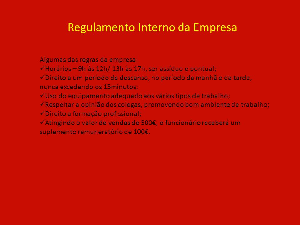 Regulamento Interno da Empresa
