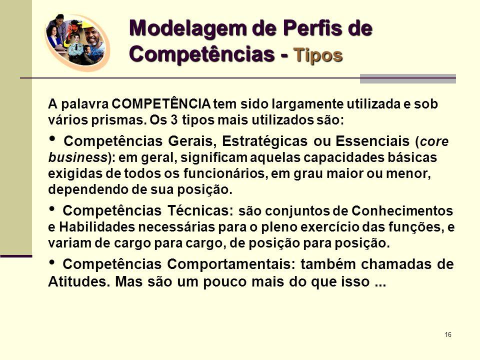 Modelagem de Perfis de Competências - Tipos