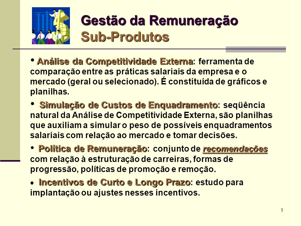 Gestão da Remuneração Sub-Produtos