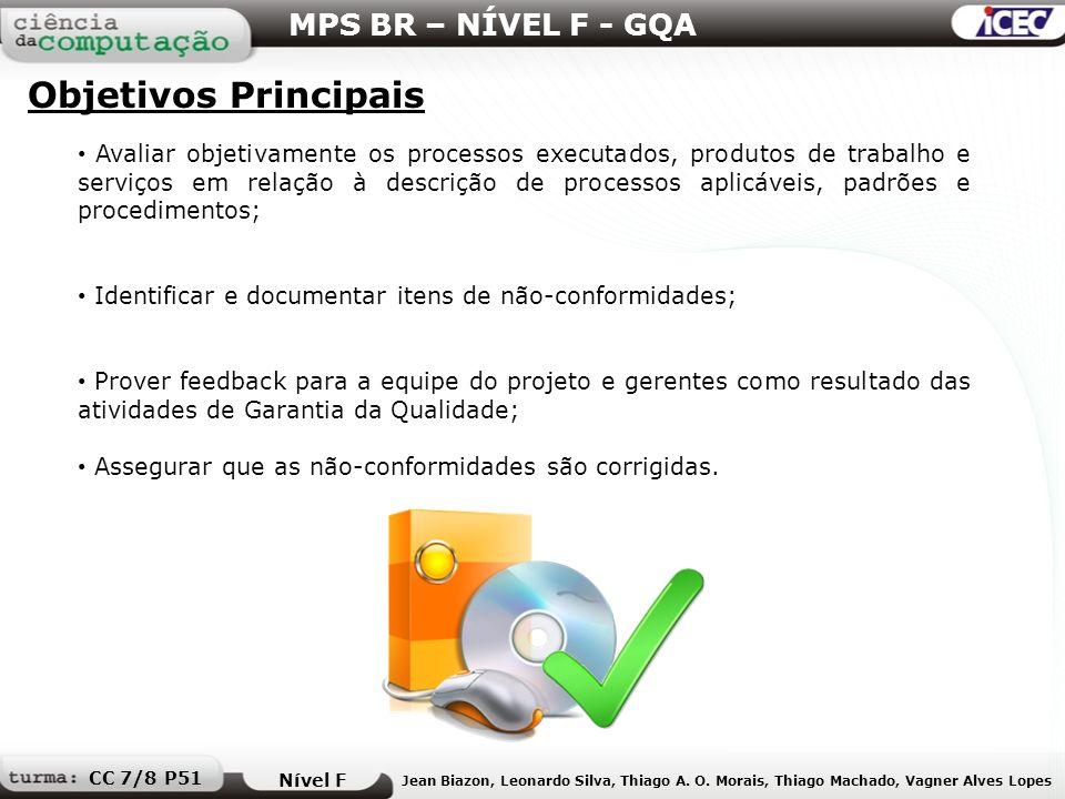 Objetivos Principais MPS BR – NÍVEL F - GQA