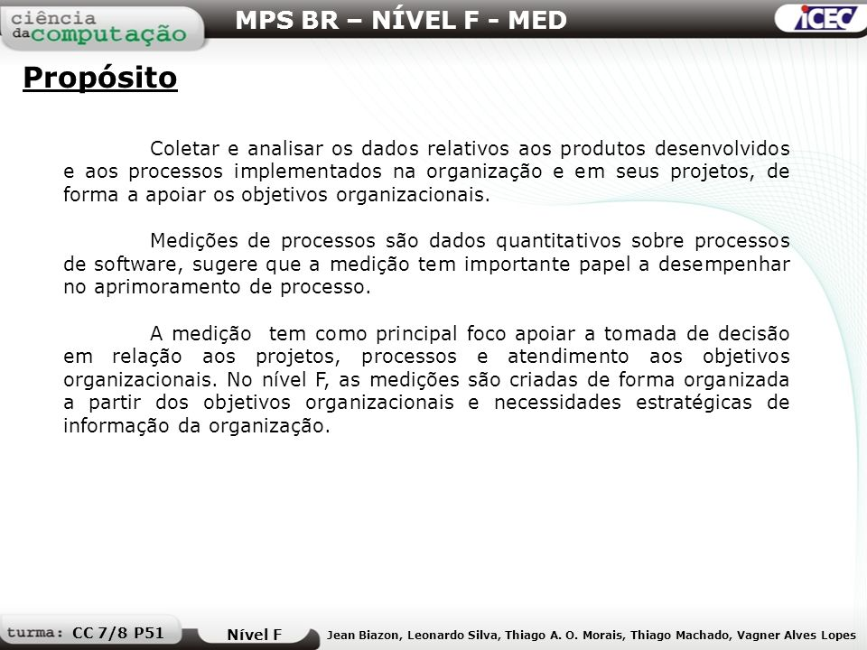 Propósito MPS BR – NÍVEL F - MED
