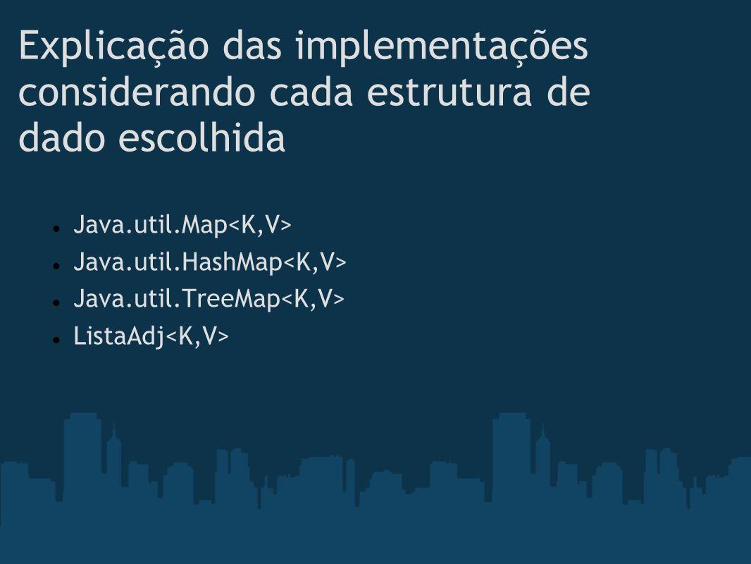 Explicação das implementações considerando cada estrutura de dado escolhida