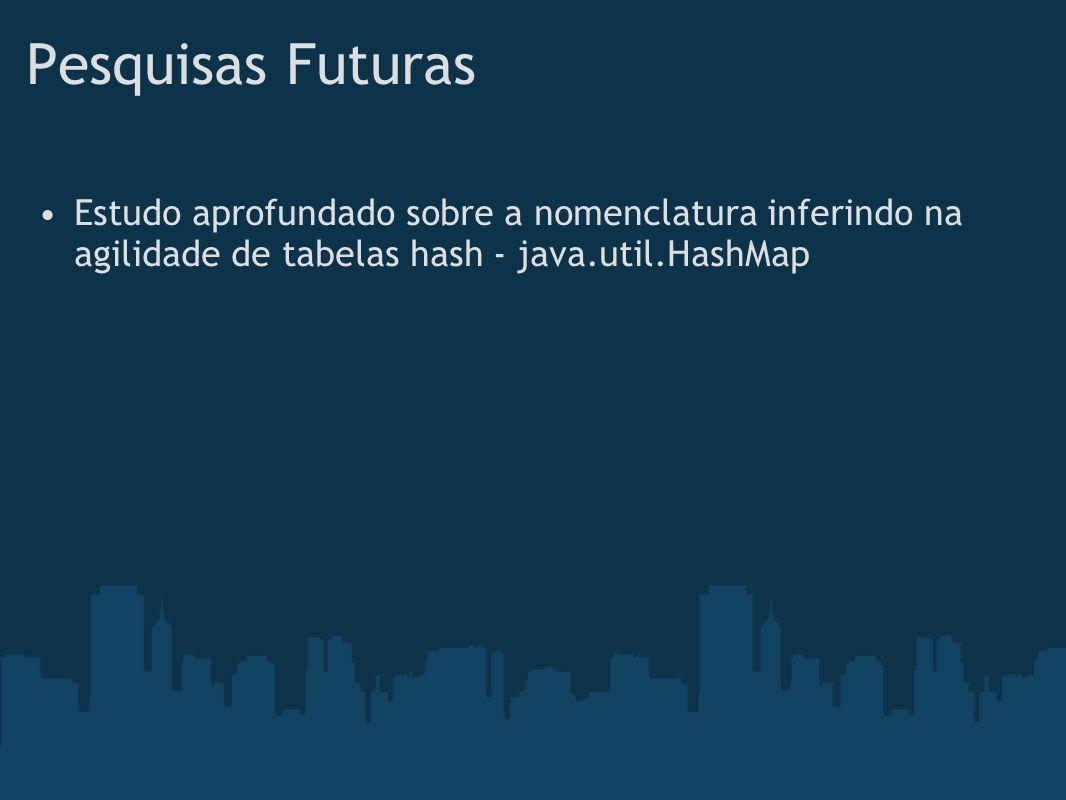 Pesquisas FuturasEstudo aprofundado sobre a nomenclatura inferindo na agilidade de tabelas hash - java.util.HashMap.