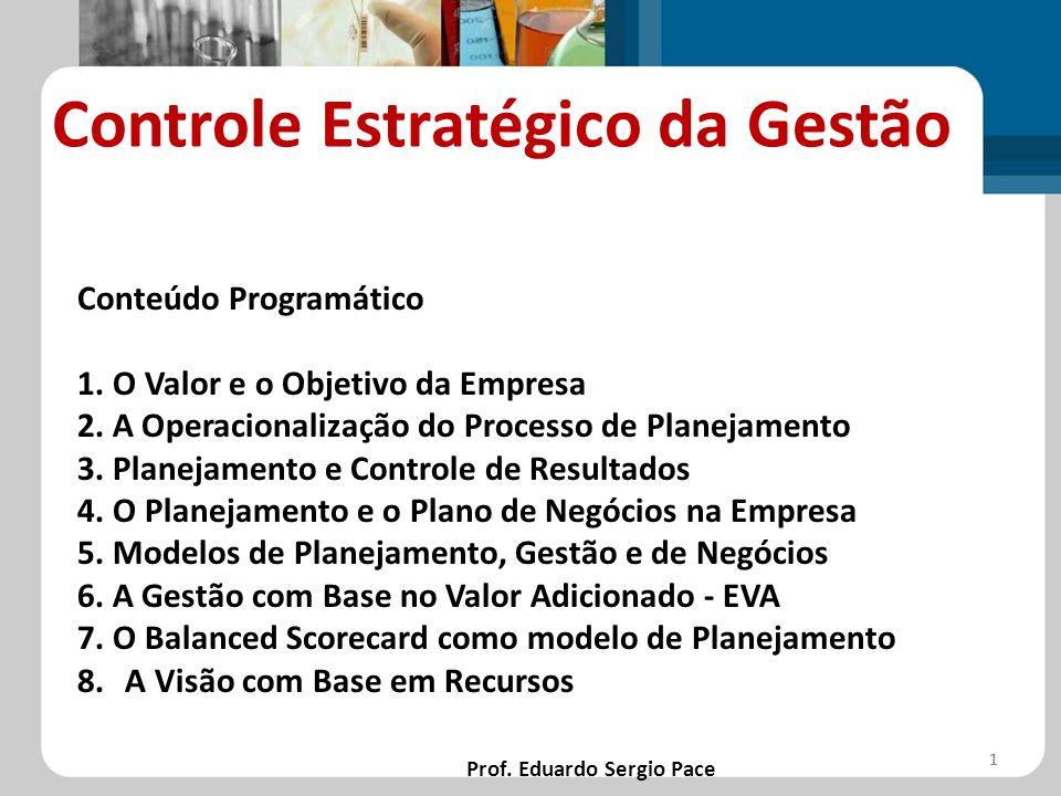 Controle Estratégico da Gestão Prof. Eduardo Sergio Pace