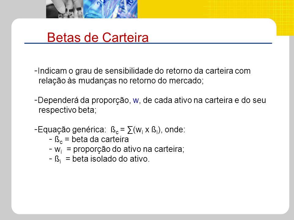 Betas de CarteiraIndicam o grau de sensibilidade do retorno da carteira com. relação às mudanças no retorno do mercado;