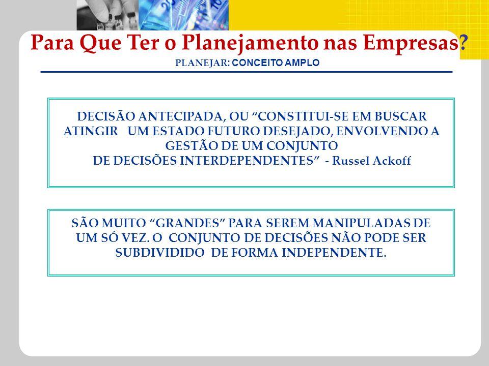 Para Que Ter o Planejamento nas Empresas PLANEJAR: CONCEITO AMPLO