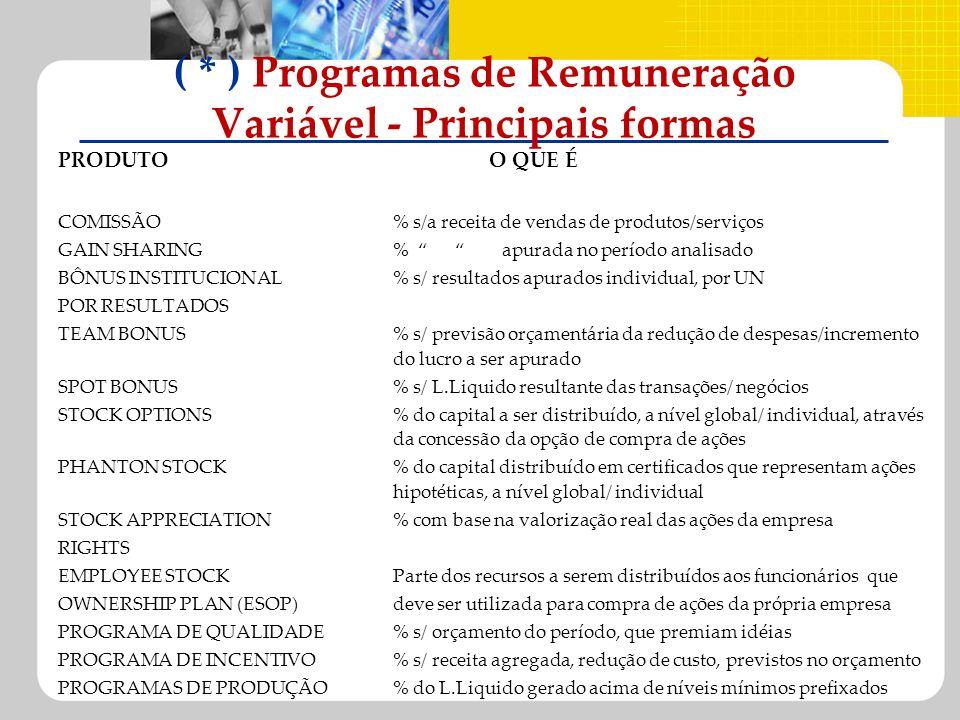 ( * ) Programas de Remuneração Variável - Principais formas
