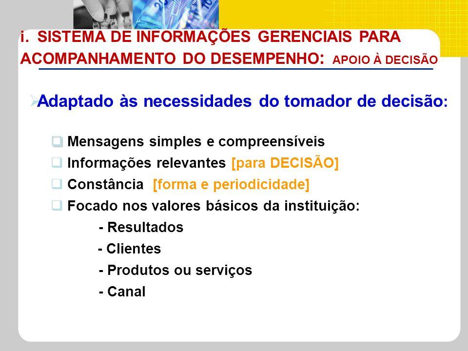 i. SISTEMA DE INFORMAÇÕES GERENCIAIS PARA ACOMPANHAMENTO DO DESEMPENHO: APOIO À DECISÃO