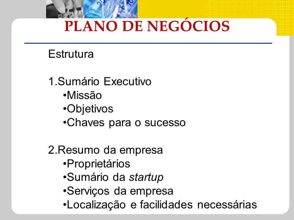 PLANO DE NEGÓCIOS Estrutura 1.Sumário Executivo Missão Objetivos