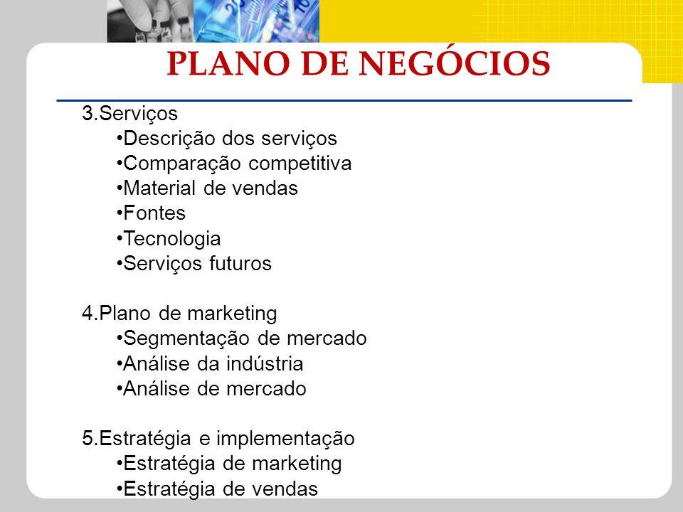 PLANO DE NEGÓCIOS 3.Serviços Descrição dos serviços