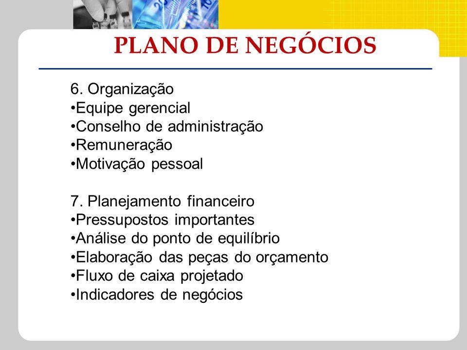 PLANO DE NEGÓCIOS 6. Organização Equipe gerencial