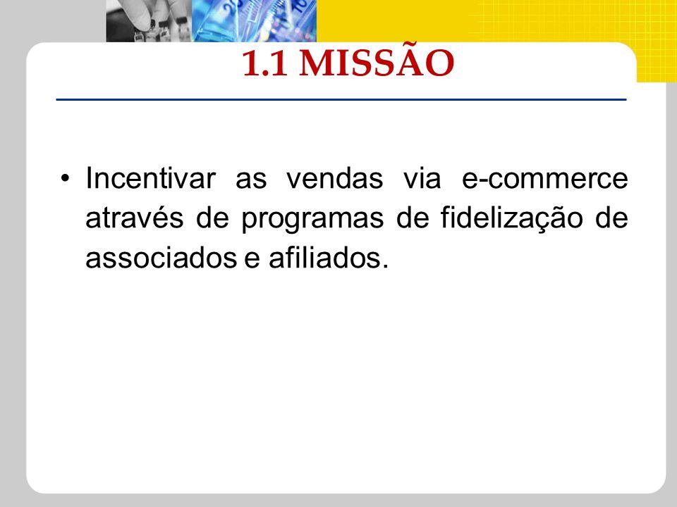 1.1 MISSÃO Incentivar as vendas via e-commerce através de programas de fidelização de associados e afiliados.