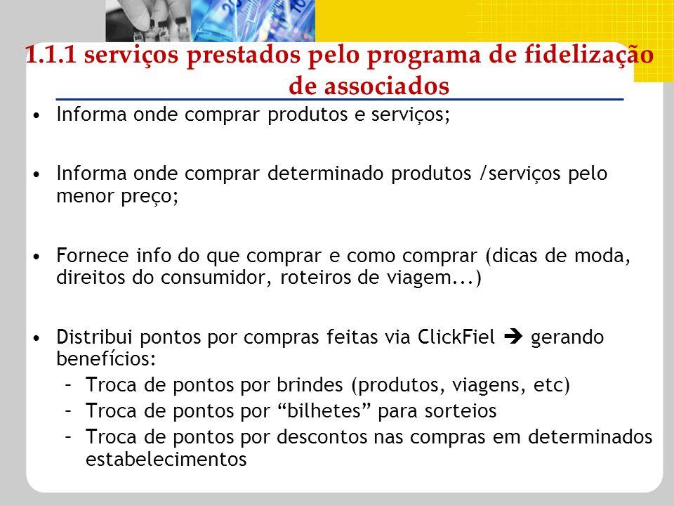 1.1.1 serviços prestados pelo programa de fidelização de associados