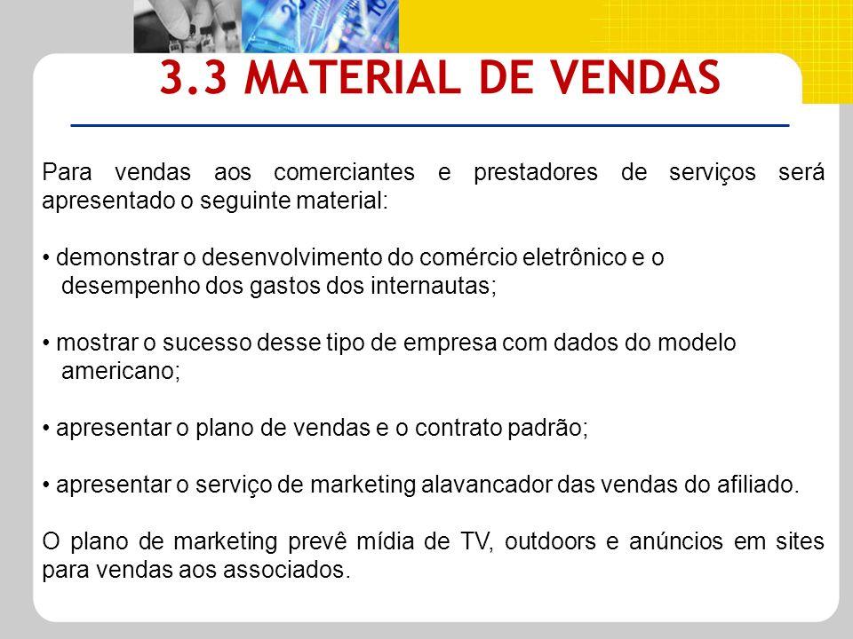 3.3 MATERIAL DE VENDAS Para vendas aos comerciantes e prestadores de serviços será apresentado o seguinte material: