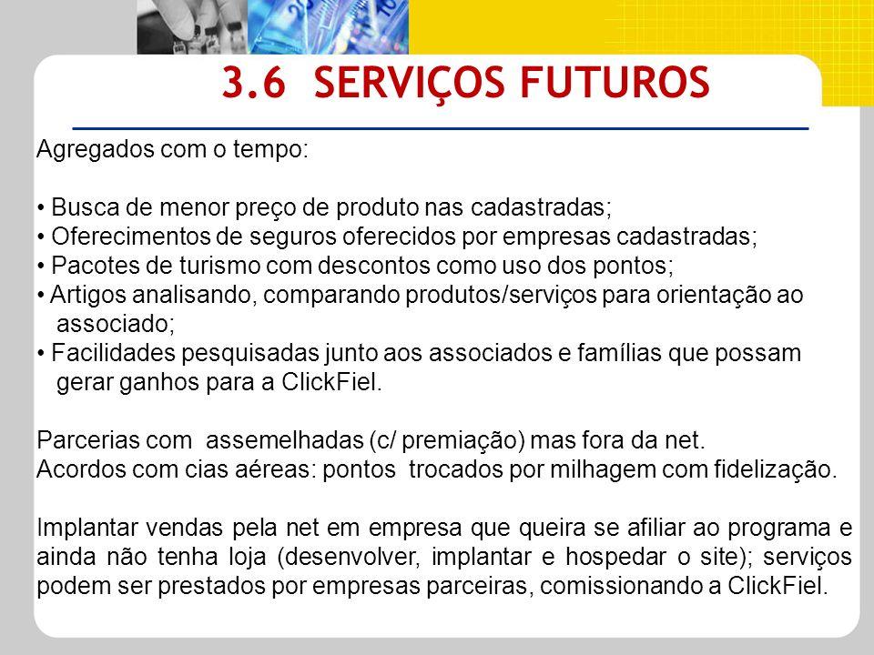 3.6 SERVIÇOS FUTUROS Agregados com o tempo: