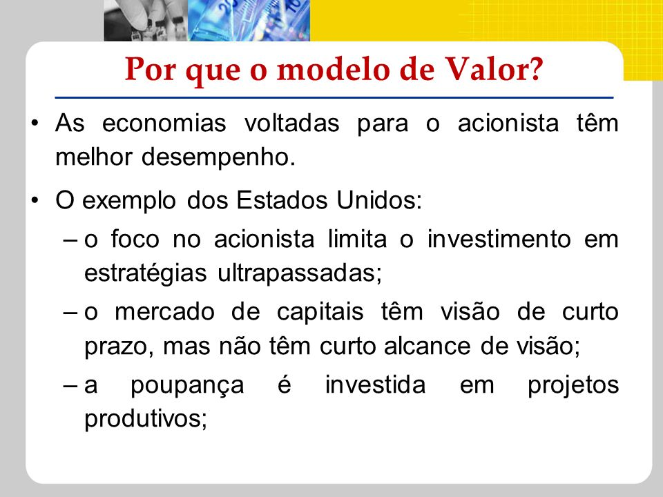 Por que o modelo de Valor