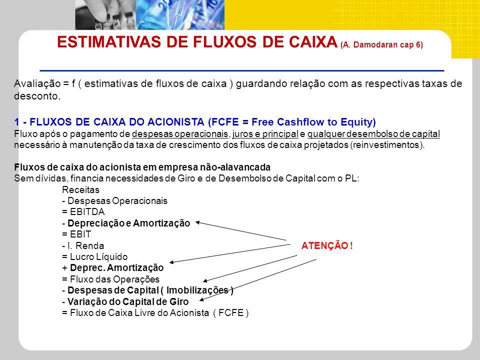 ESTIMATIVAS DE FLUXOS DE CAIXA (A. Damodaran cap 6)